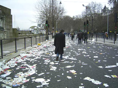 Protest debris along the Victoria Embankment