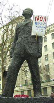 Placard inserted into Whitehall statue