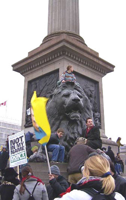 Even the Trafalgar square lions are in on the act