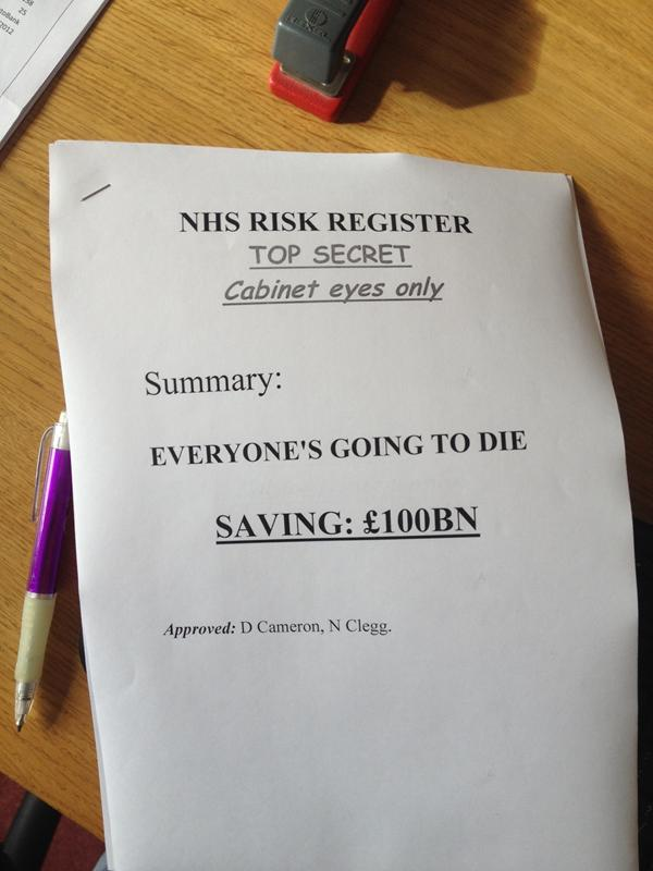NHS Risk Register, as seen by Thoughtcat
